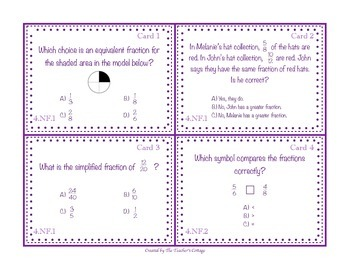 4th Grade Fractions Task Cards - Common Core Aligned