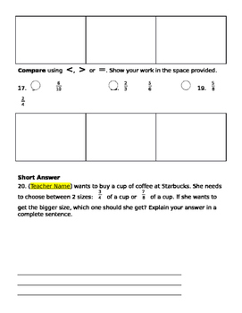 Fractions Test - Upper Elementary