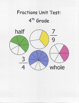 4th Grade Fractions Test