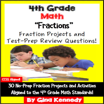 4th Grade Math Fractions Practice,30 Enrichment Projects &