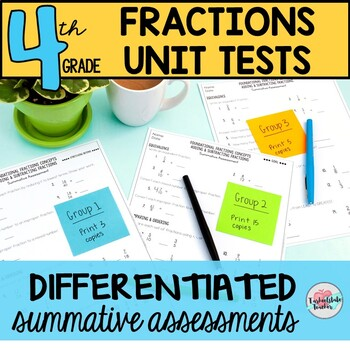 4th Grade Fractions and Decimal Fractions Unit Tests (differentiated tests)