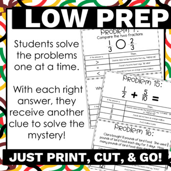 4th Grade Fractions Valentine's Day Activity with Answer Key and No Prep