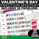 4th Grade Fractions Valentine's Day Activity with Answer K