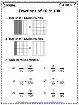 Grade Fractions Worksheets: 4th Grade Math Worksheets, Fractions