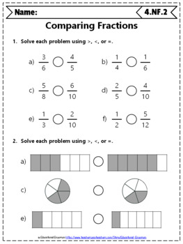 4th Grade Fractions Worksheets: 4th Grade Math Worksheets, Fractions