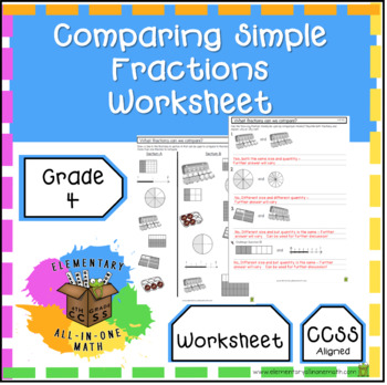 Comparing Fractions Worksheets 4th Grade Covering 42 Tpt