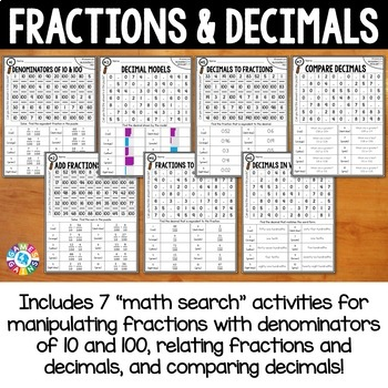 4th Grade Fractions and Decimals Math Search {4.NF.5, 4.NF.6, 4.NF.7}