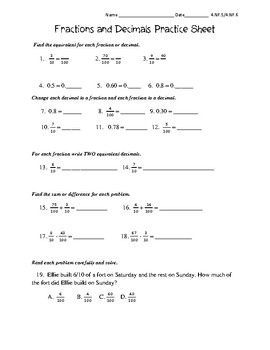 4th Grade Fractions and Decimals Practice 4.NF.5, 4.NF.6