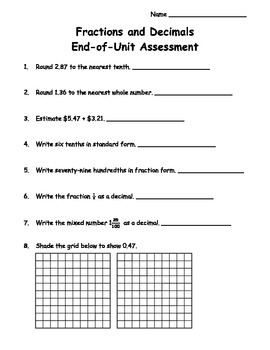 4th Grade Fractions and Decimals Unit Assessment