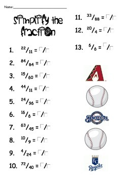 4th Grade Fractions for Baseball Season