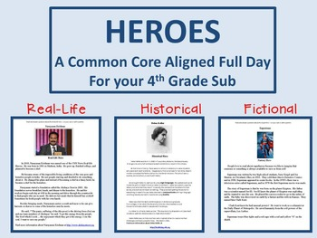 Heroes - A Common Core Aligned Full Day For Your Sub