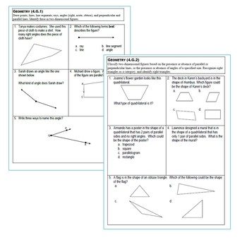 4th Grade GEOMETRY Assessments (4.G) Common Core