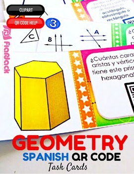 4th Grade GEOMETRY SPANISH QR Code Task Cards