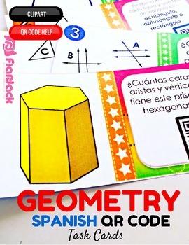 4th Grade GEOMETRY SPANISH QR Code Task Cards