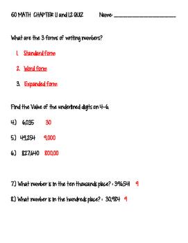 4th Grade GO MATH Ch 1.1 and 1.2 Quiz