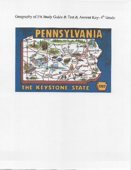 4th Grade Geography of PA Study Guide & Test