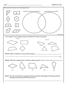 4th Grade Geometry Assessment (4.G.A.1, 4.G.A.2, 4.G.A.3)