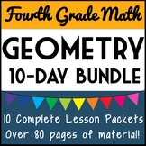 4th Grade Geometry Bundle, 4th Grade Geometry Unit, 10 Days + Over 80 Pages