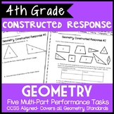 4th Grade Geometry Constructed Response, 5 Multi-Part Performance Tasks