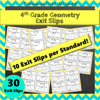 4th Grade Geometry Exit Slips: Geometry Exit Tickets, 4th