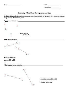 4th Grade Geometry - Lines, Segments, Rays, and Angles