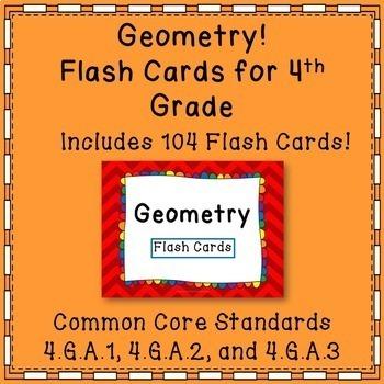 Geometry Math Flash Cards Common Core {4th Grade}