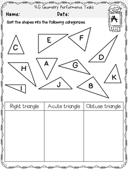 4th Grade Printables Geometry PERFORMANCE TASKS *COMMON CORE ALIGNED* 4.G