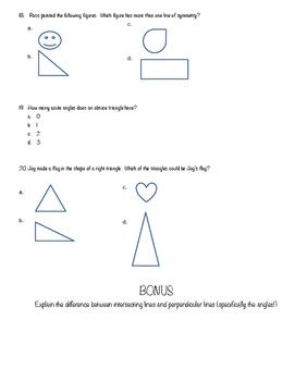 4th Grade Geometry Quiz
