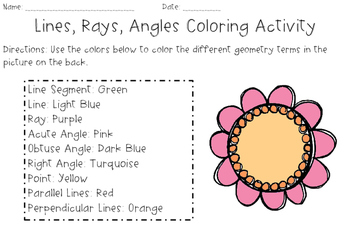 4th Grade Geometry Spring Coloring Activity (Lines, Angles, and Rays)