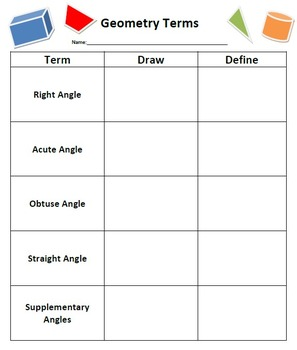4th Grade Geometry Term Organizer