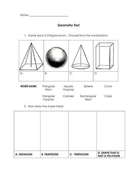 4th Grade Geometry Test