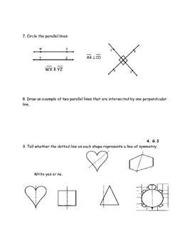 4th Grade Geometry Test Prep 4.G.1, 4.G.2, 4.G.3