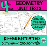 4th Grade Geometry Unit Tests Review 4.G.1 4.G.2 4.G.3 (differentiated tests)