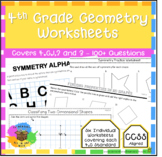 4th Grade Geometry - Worksheets covering 4.G.1, 4.G.2 & 4.G.3