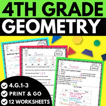 4th grade geometry worksheets pdf