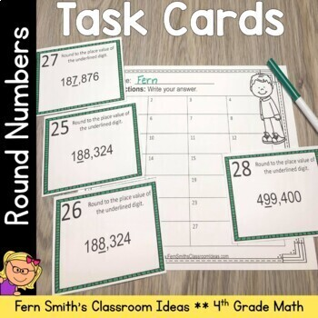 4th Grade Go Math 1.4 Round Numbers Task Cards