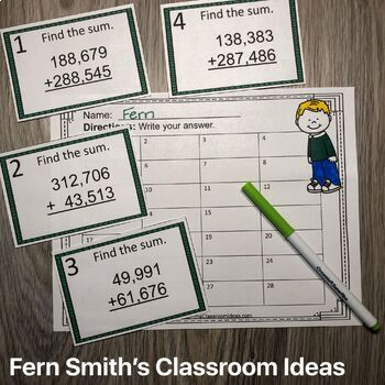 4th Grade Go Math 1.6 Add Whole Numbers Task Cards
