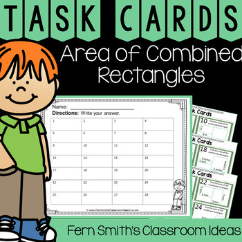 4th Grade Go Math 13.3 Area of Combined Rectangles Task Cards