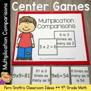 4th Grade Go Math 2.1 Multiplication Comparisons Center Games