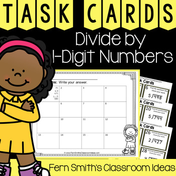 4th Grade Go Math 4.11 Divide by 1-Digit Numbers Task Cards