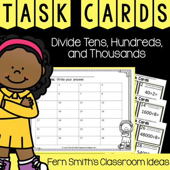4th Grade Go Math 4.4 Divide Tens, Hundreds, and Thousands Task Cards