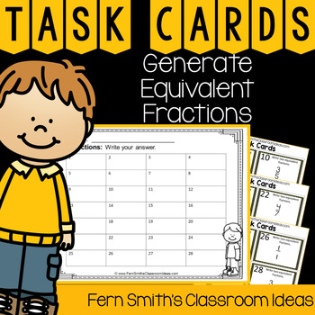 4th Grade Go Math 6.2 Generate Equivalent Fractions Task Cards