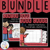 4th Grade Go Math 9.4 Relate Fractions, Decimals, and Money Bundle
