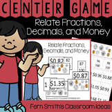 4th Grade Go Math 9.4 Relate Fractions, Decimals, and Money Center Games
