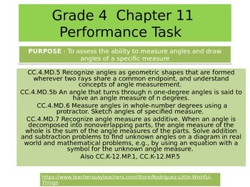 4th  Grade  Chapter 11  Math Performance task