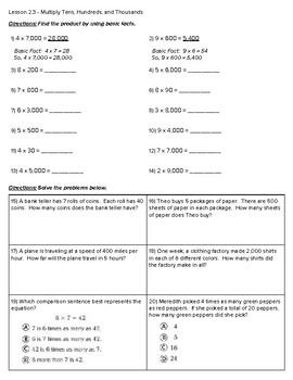 4th Grade Go Math- Chapter 2 Classwork/Homework