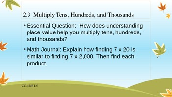 4th Grade Go Math! Chapter 2 Essential Questions and Journal Prompts- Fall Theme