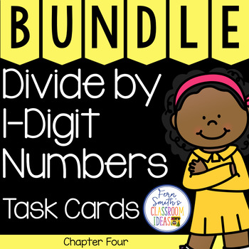 4th Grade Go Math Chapter 4 Divide by 1-Digit Numbers Task Cards Bundle