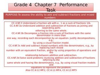 4th  Grade  Chapter 7  Math Performance task