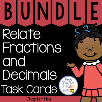 4th Grade Go Math Chapter 9 Relate Fractions and Decimals Task Cards Bundle